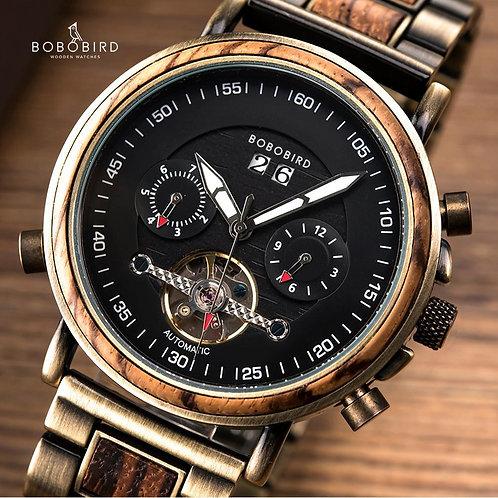 BOBO BIRD Male Mechanical Men Wood Watch Watches Stainless Steel Automatic Wrist