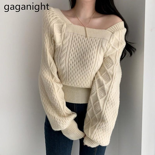 Gaganight Vintage Women Sweater Solid Fashion Pull Femme Casual Loose Knitted Ch