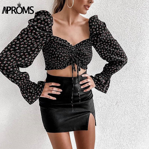 Aproms Sweet Pink Flroal Print Black T-shirt Women Off Shoulder Long Sleeve Crop