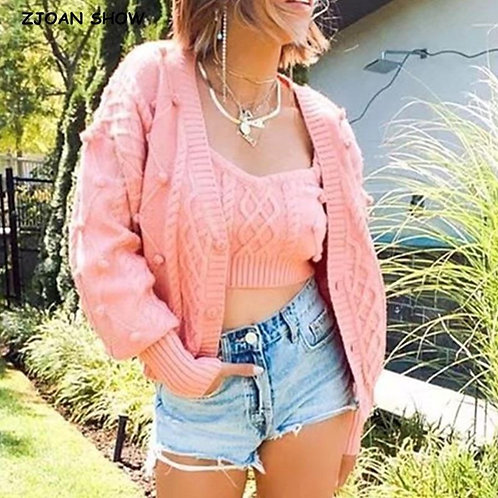 1 set Autumn Korea Style Vintage Knitting 3D Ball Cardigan Single-breasted Butto