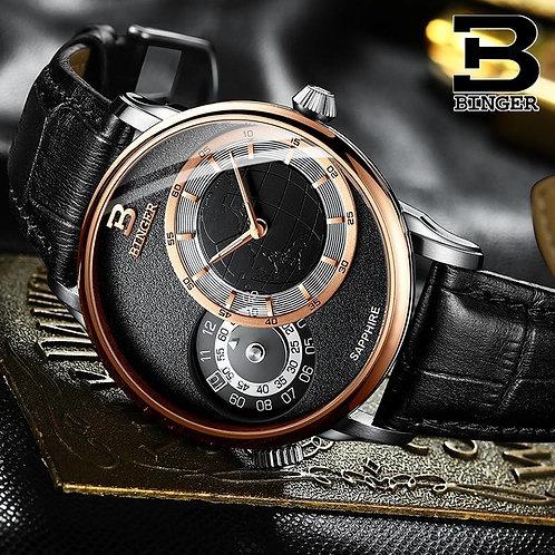 BINGER Dual time zone Men's Watches Top Brand Luxury Military Quartz Watch Men W