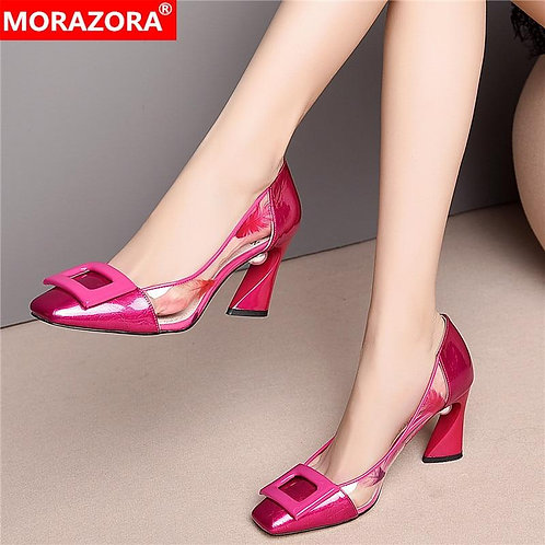 MORAZORA 2020 Summer hot sale sweet party shoes woman fashion bowknot solid colo
