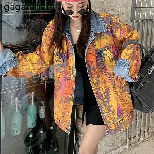 Gaganight Harajuku Cool Women Jeans Long Jacket Streetwear Fashion Graffiti Outw