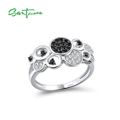 SANTUZZA Silver Rings For Women Authentic 925 Sterling Silver Round Black Spinel
