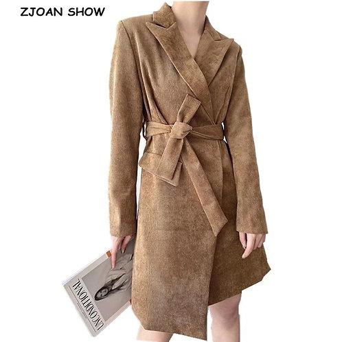 2020 Autumn Winter Corduroy Tie Bow Trench Elegant Women Lapel Long Sleeve Slim