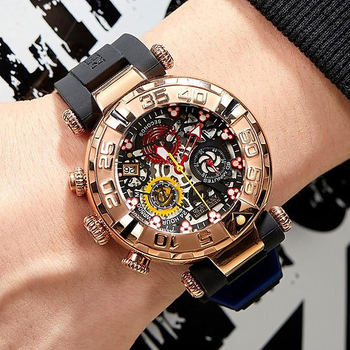 Reef Tiger/RT Top Brand Mens Sport Watches Chronograph Rose Gold Skeleton Watche