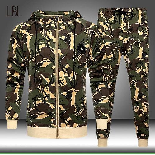Camo Men Tracksuit Hooded Outerwear Hoodie Set Mens Autumn Winter 2 Pieces Hoode