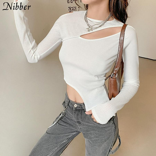Nibber Chic Hollow Out Irregular Thsirt Y2k Top Woman Autumn Patchwork See Throu