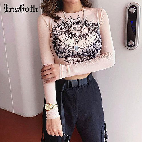 InsGoth Gothic Sun Print Khaki T Shirt Women Harajuku Bodycon Long Sleeve Crop T