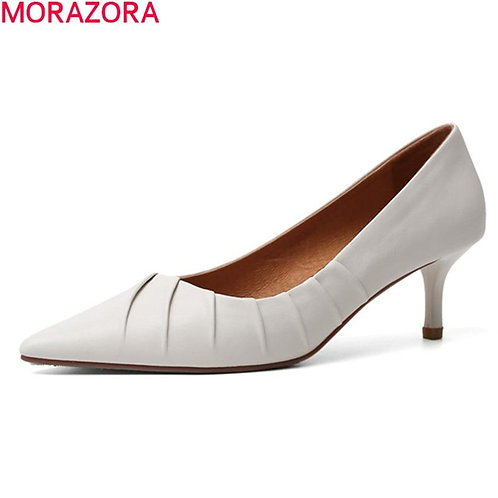 MORAZORA 2020 New arrival summer women pumps genuine leather shoes stiletto high