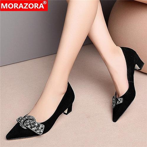 MORAZORA New Brand spring summer women pumps black color shallow single shoes me
