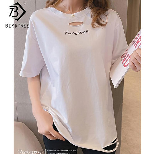 2020 Summer New Women's Letter T-shirt Hole O-Neck Short Sleeve Long Tees Female