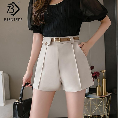 2020 Spring And Summer New Women's Office Lady Shorts With Sashes Fashion High W