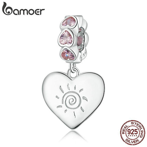 bamoer 100% 925 Sterling Silver Romantic Heart Beads Pendant Charm for Women Ori