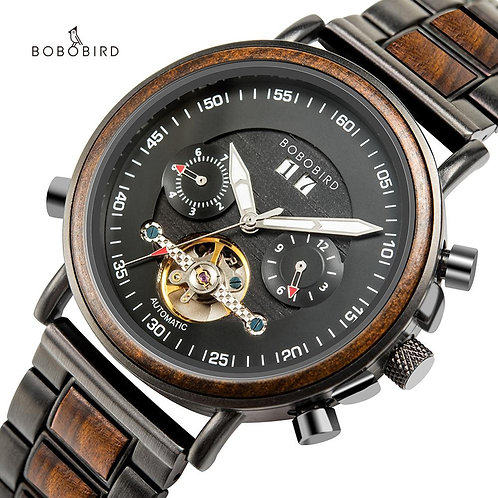 BOBO BIRD Luxury Mechanical Multifunction Mens Watches Stainless Steel Wood Busi