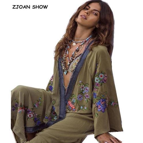 2019 New Bohemian V neck Flower Embroidery Long Kimono Shirt Ethnic Women Holida