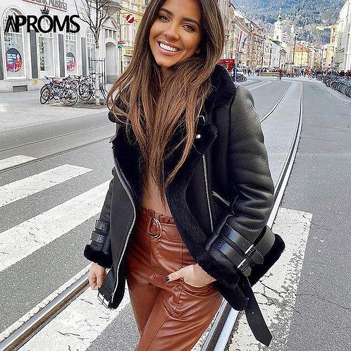 Aproms Black Faux Leather Women's Jacket 2020 Winter Turn-down Fur Collar Zipper