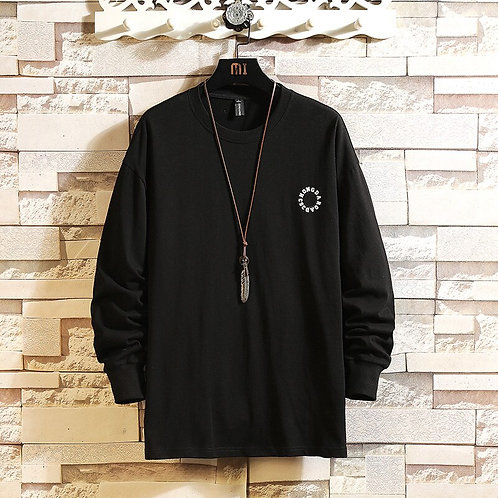 Long Sleeves Men's Print White Black Patchwork Tshirts 2021 New Spring Autumn