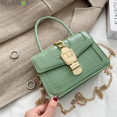 Female Alligator Pattern Clasp Shoulder Handbag Fashion PU Leather Messenger Bag