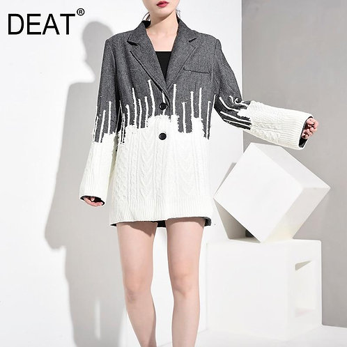DEAT 2020 New Autumn And Winter Turn-down Collar Full Sleeves Knits Patchwork Gr