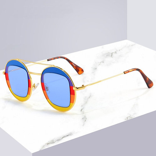 Women Sunglasses Lady Round Metal Glasses Trend Colorful Brand Design UV400
