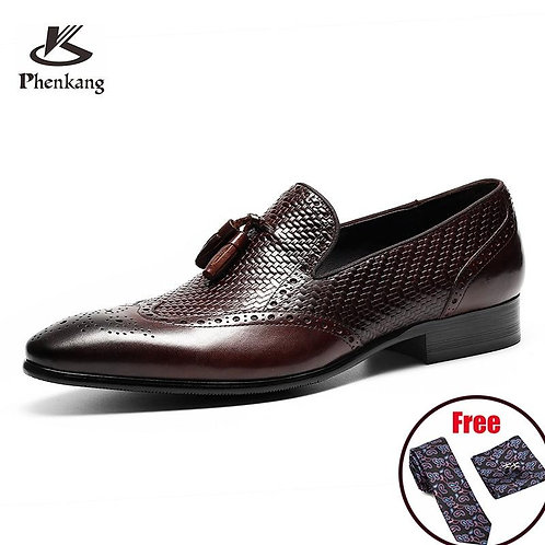 Phenkang mens leather shoes genuine leather oxford shoes for men luxury dress sh