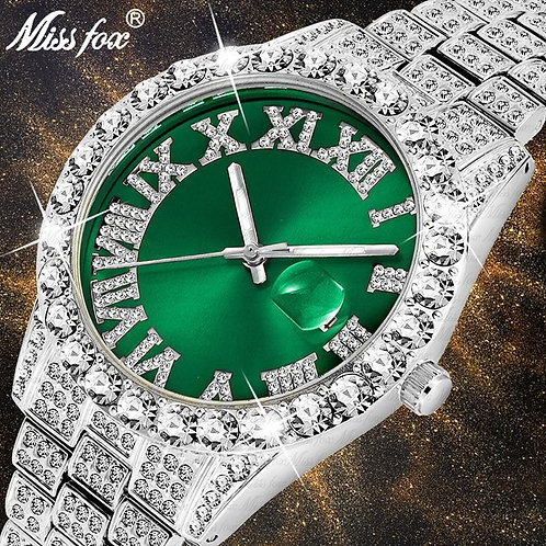 Dropshipping Brand Men's Watches Green Water Resistant Date Real Chronograph 18K