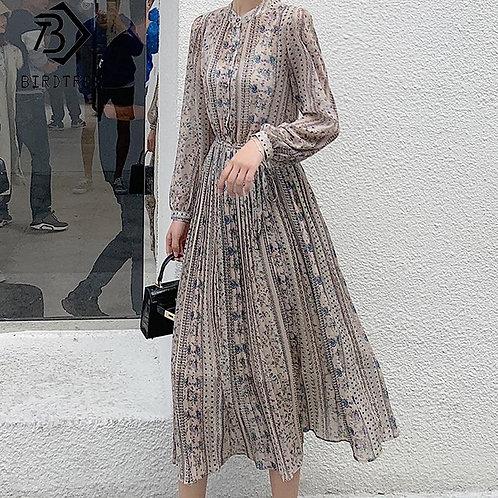 2020 Spring O-Neck Women Chiffon Print Flowers Dress Fall Fashion Vintage Long S