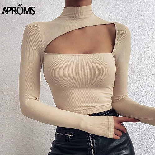 Aproms Elegant Solid Color High Neck Ribbed Knitted T-shirt Women Autumn 2020 Se
