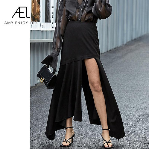 AEL Asymmetry black long Fishtail skirt women high split sexy Max Slit Skirts ru