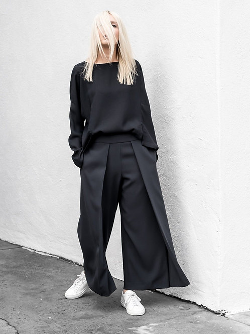 AEL Black Double-deck Side Female Broad Leg Pants 2018 Spring Women's Clothing L