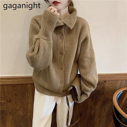 Gaganight Casual Women Sweater Autumn Winter Fashion Solid Cardigan Single Breas