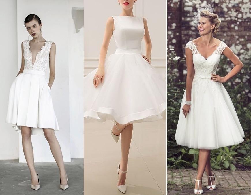 Krátké svatební šaty s bohatou sukní