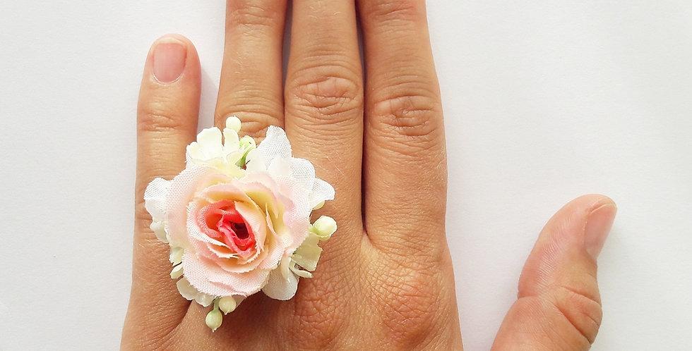 Prsten s květinami - Růžový