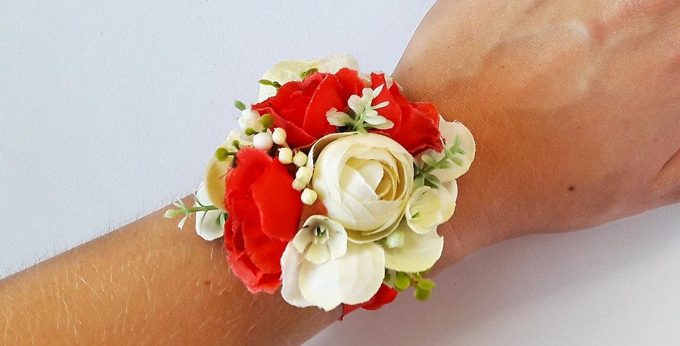 Svatební náramek pro družičku - červené růže