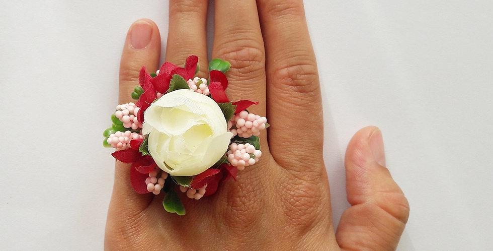 Květinový prsten - s pivoňkou