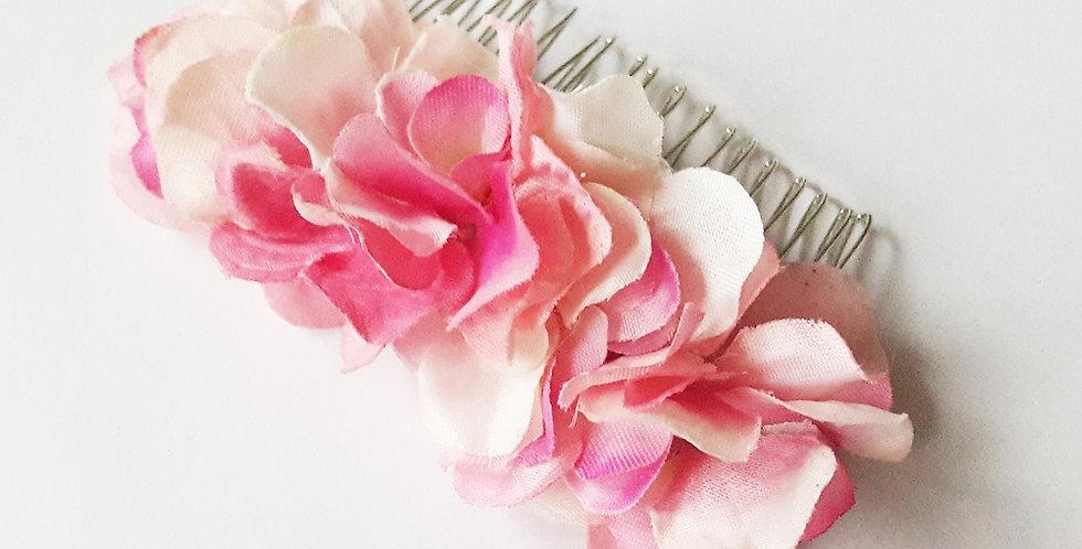 Hřebínek do vlasů - růžová hortenzie