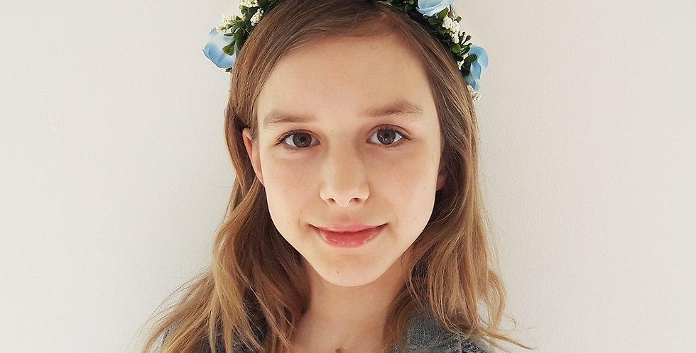 Věneček do vlasů z květin - modrý