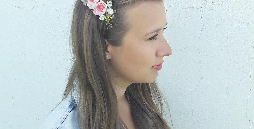 Hřebínek do vlasů -modistický růžová