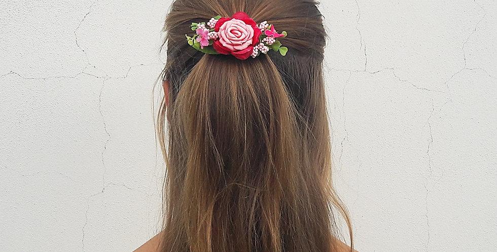 Květinová spona do vlasů - Růža