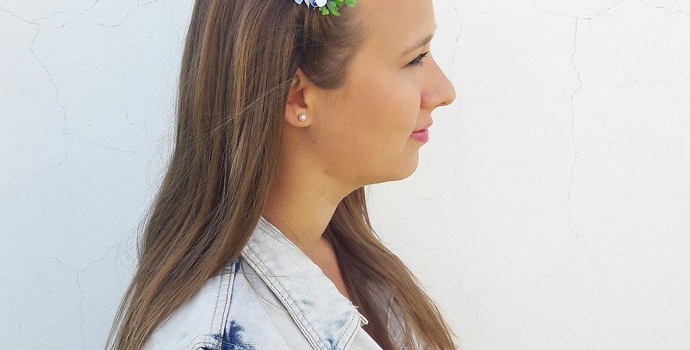 Květinový hřebínek s ozdobou - modřenka