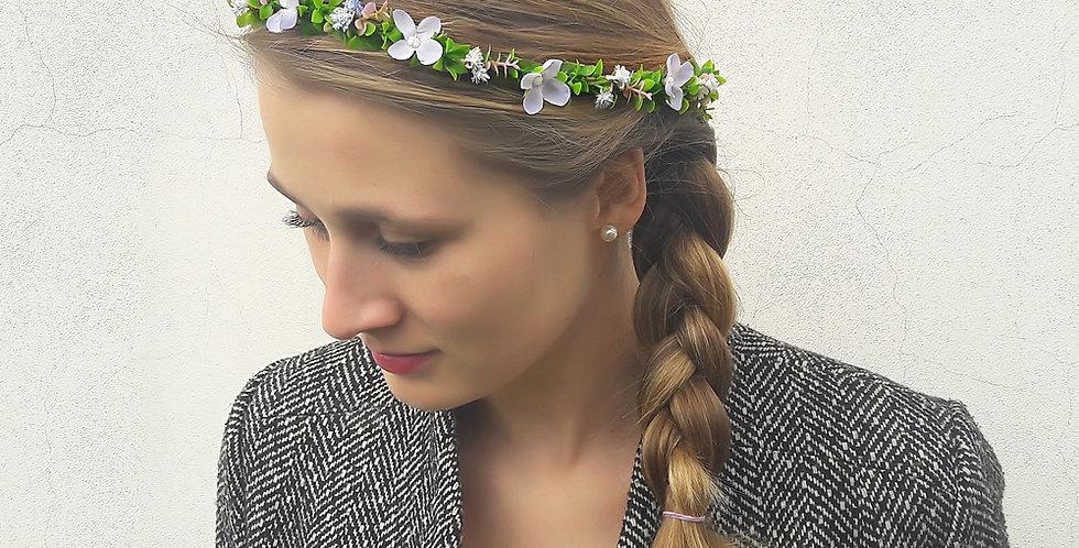 Květinový věneček do vlasů fialkový