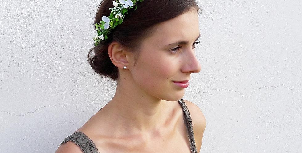 Květinový věneček do vlasů - bílý