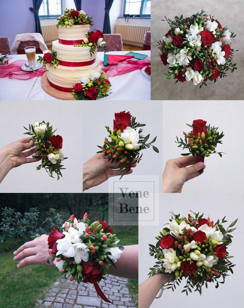 Svatební dort, svatební kytice, klopa