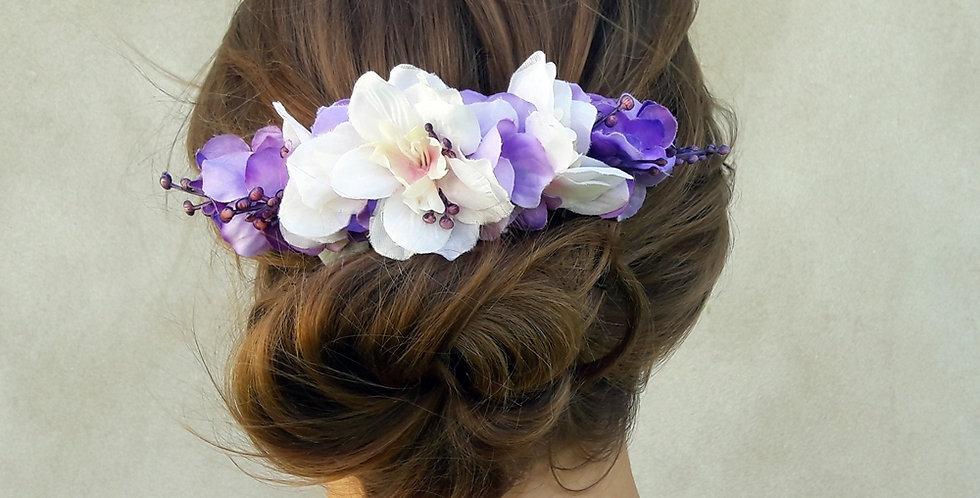 Svatební hřebínek podvojný - fialový