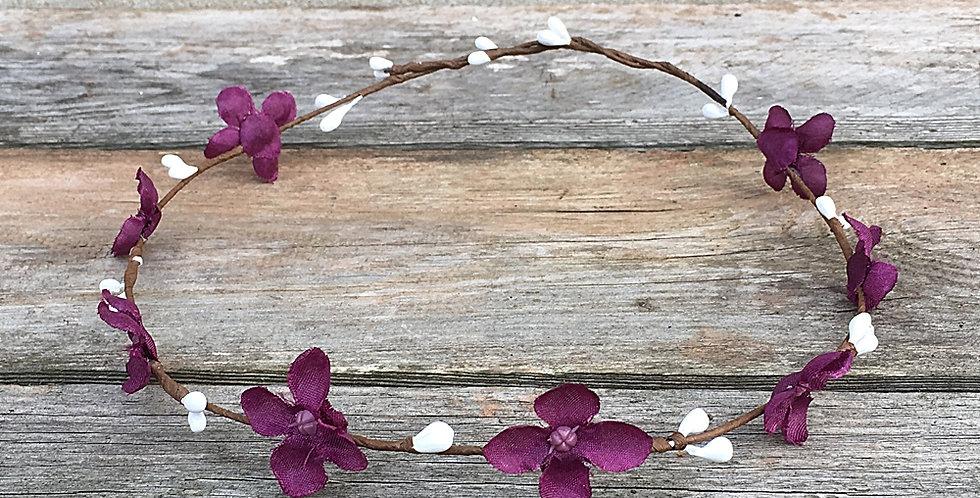 Věneček do vlasů - fialová hortenzie