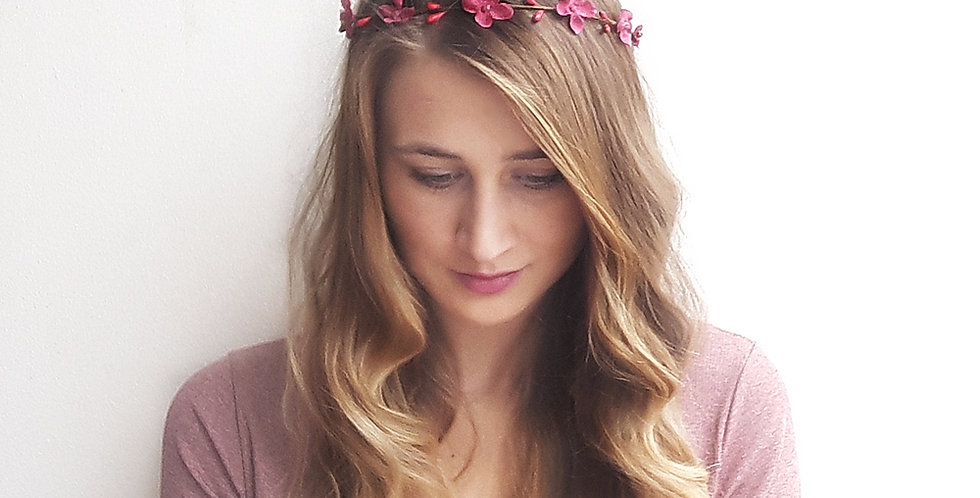 Věneček do vlasů - t.růžová hortenzie