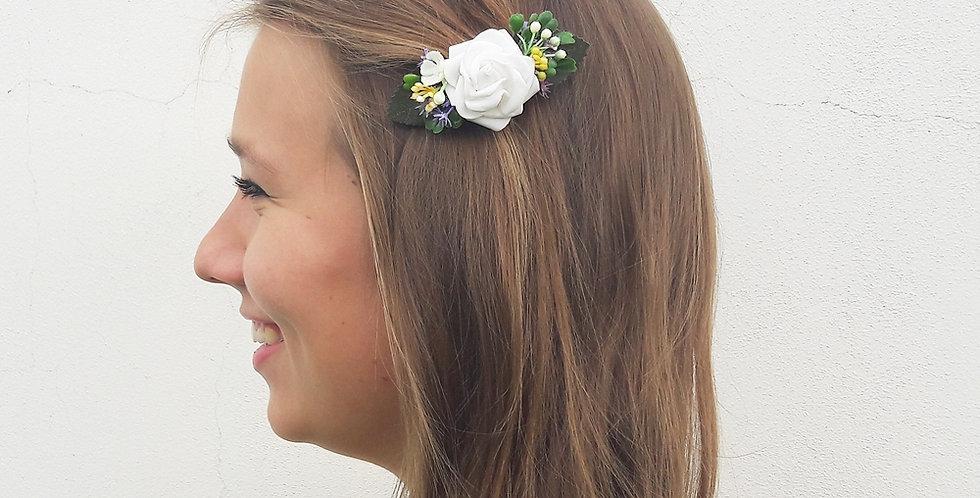 Květinová spona do vlasů - Bělenka