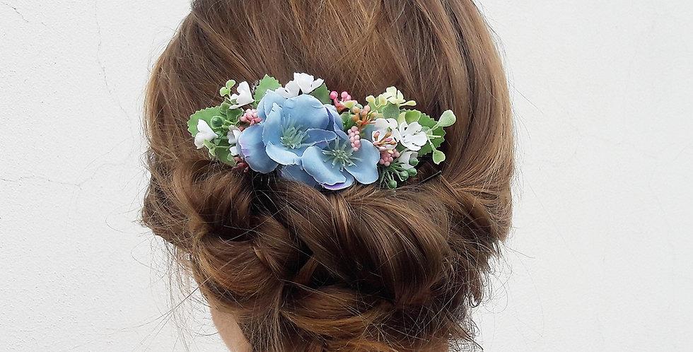 Květinový hřebínek - modrý květ