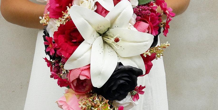 Růžovo-černý svatební set